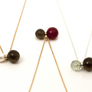 In balance series, necklace, smoky quartz, red onyx, amethyst, pearl, silver, gold plated silver