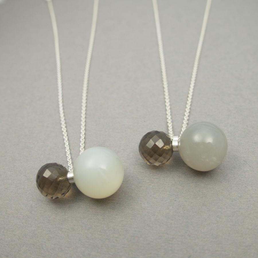 Handcrafted jewellery with milky moon stone by Maki Okamoto.