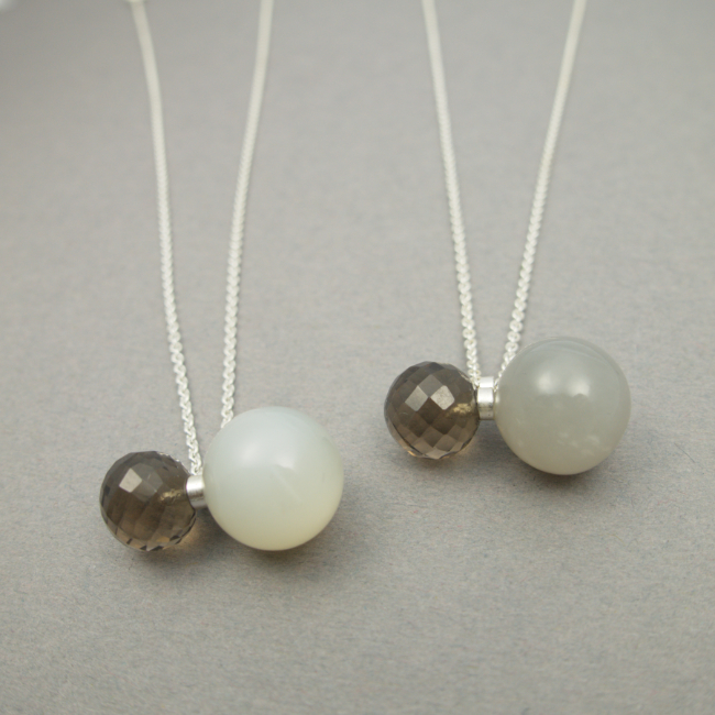 In Balance necklace,  smoky quartz and moonstone