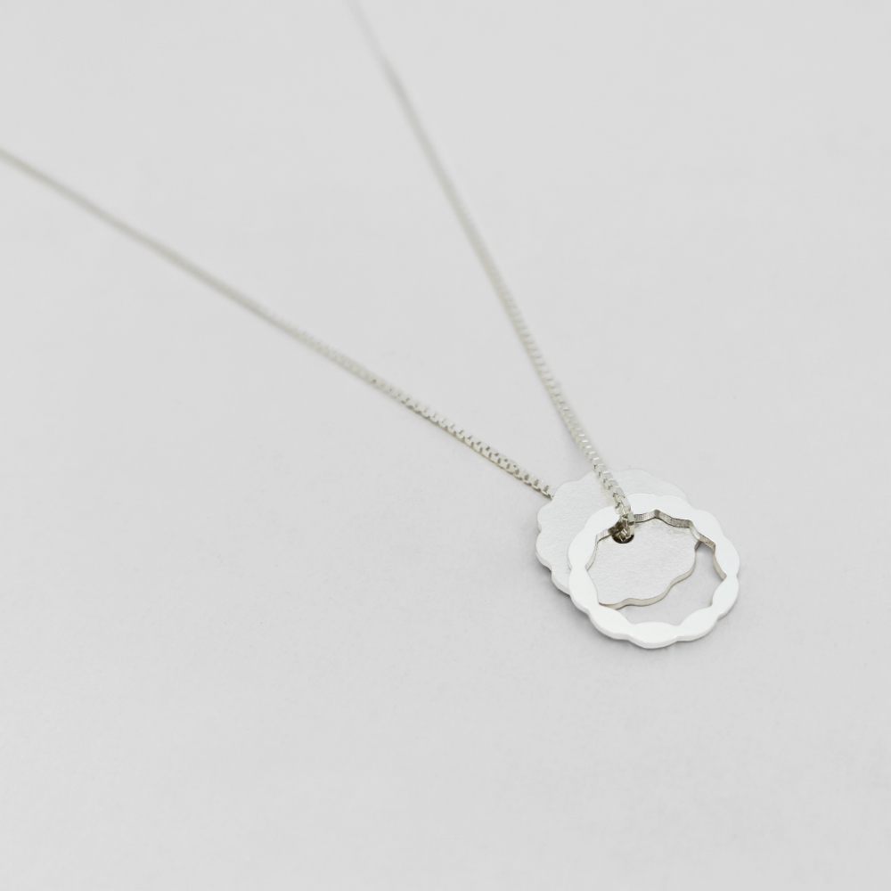 Paper Shadow necklace / circle, 925 silver
