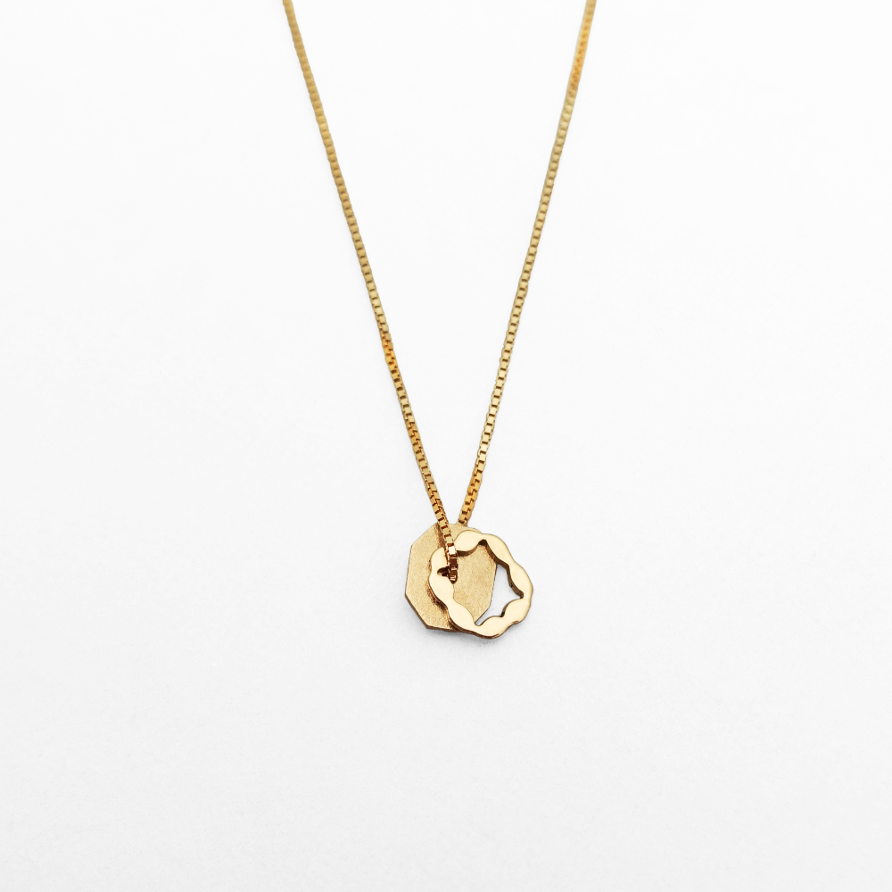 Paper Shadow necklace / square, 18K red gold