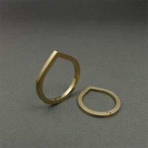 Handmade 18K gold wedding / engagement ring, Drop shaped ring with diamond by Maki Okamoto