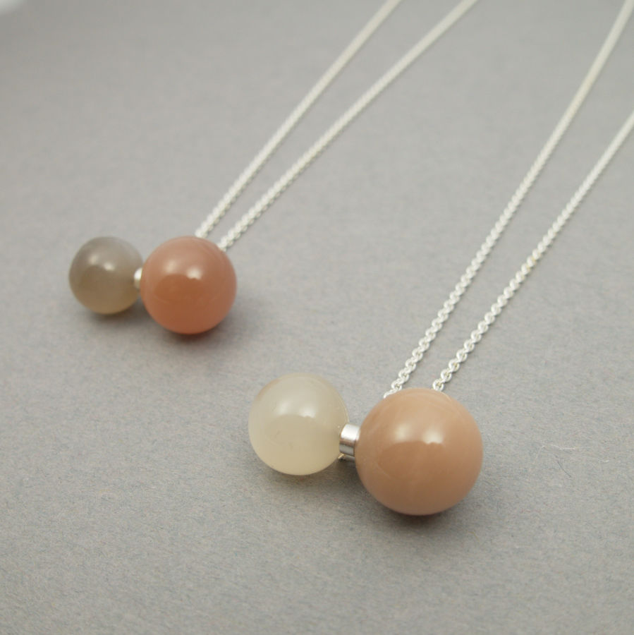Handcrafted jewellery with milky moon stone by Maki Okamoto.
