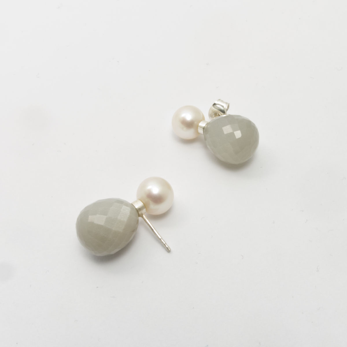 Faceted milky moon stone and white pearl earrings from In Balance collection