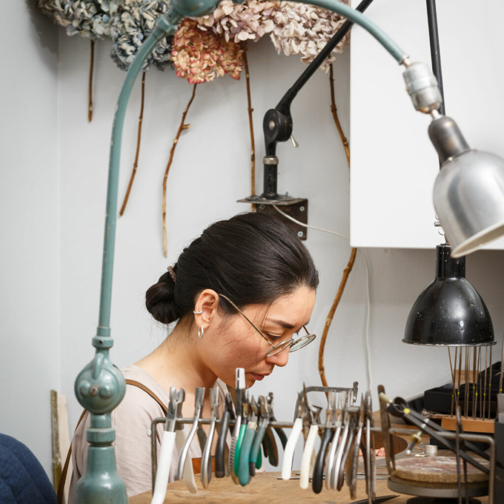 Artisan Maki Okamoto. Handcrafted sustainable jewellery made in her studio in Stockholm.