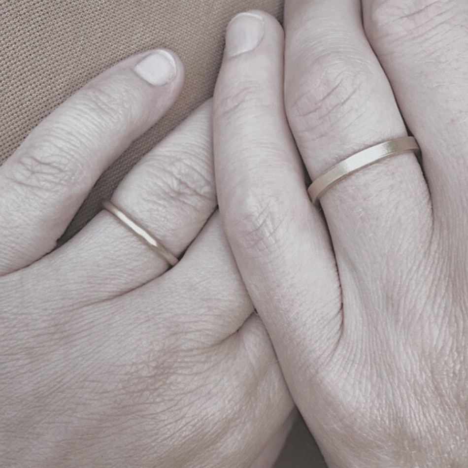 Hand crafted wedding rings made by Maki Okamoto in her studio in Stockholm.